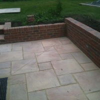 Brick retaining wall and Patio corner and steps