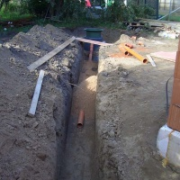 Cesspool instaed and ready for back filling with shingle