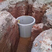 concrete ring manhole ready for extension and backfilling