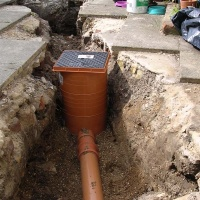 single manhole connected ready for haunching